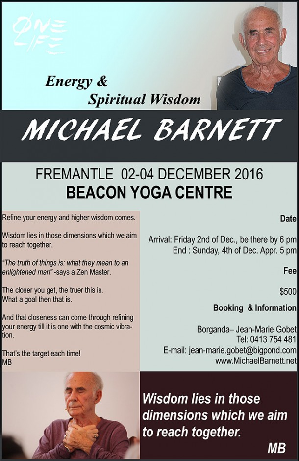 Weekend Seminar In Perth, Australia - Michael Barnett Onelife